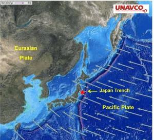 Скорость и направление движения Тихоокеанской плиты.