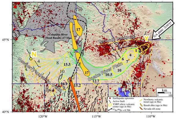 След Горячей точки на поверхности Североамериканской плиты.