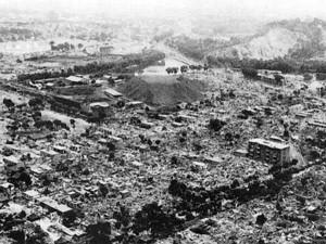 Вид на полностью разрушенный землетрясением город Ашхабад.
