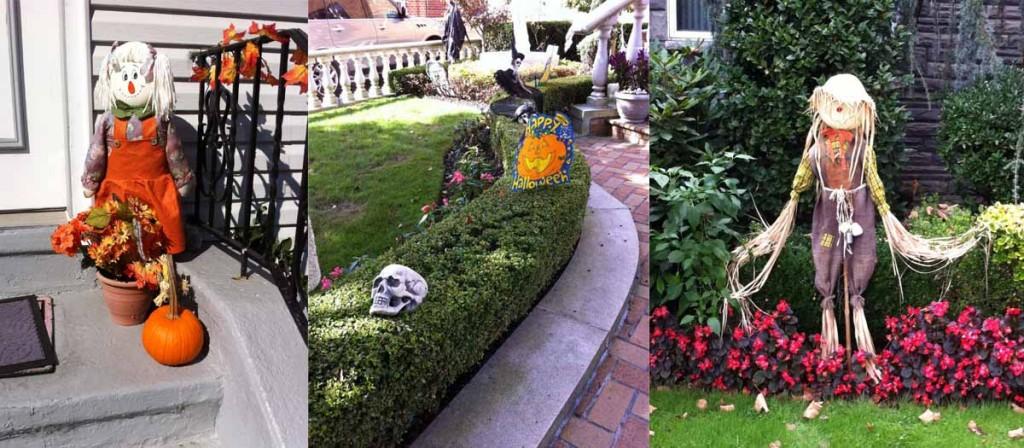 Украшать всякими страшилищами дворики начинают задолго до прихода Хэллоуина.