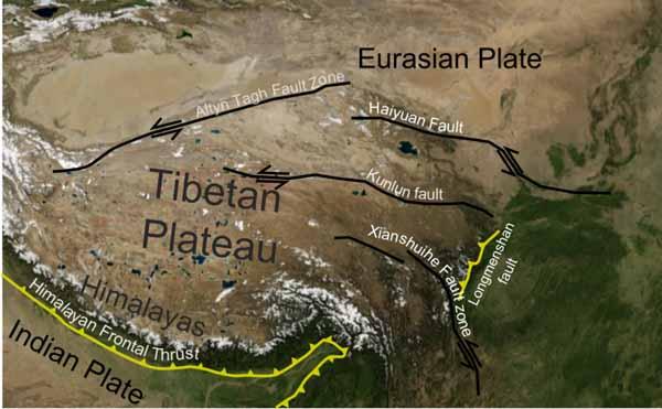Тибетское плато. Взгляд сверху. Стрелочками показано куда и что движется