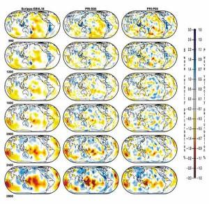 Сейсмотомографические сечения на разных глубинах (900, 1200, 1600, 2000, 2400, 2800 км) в нижней мантии Земли.