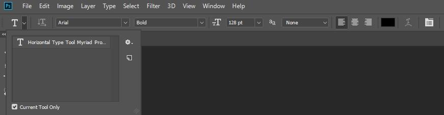Опции инструмента Type Tools