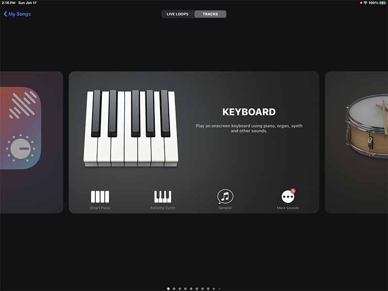 Интерфейс музыкального редактора GarageBand на iPad