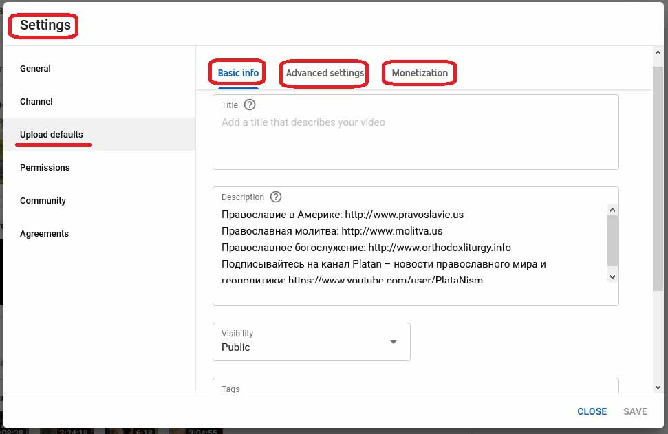 YouTube Channel Video Settings Upload defaults