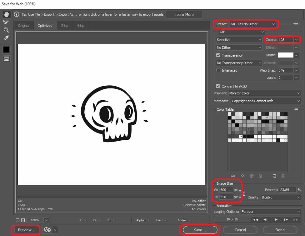 Export the animation as a GIF